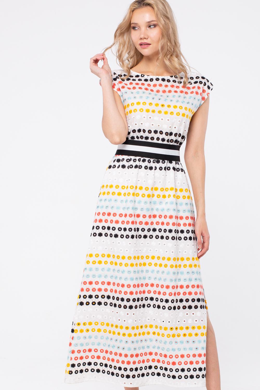 Платье З450а-112 - Жарким летом хочется носить очень легкую одежду. Поэтому многие девушки с удовольствием приобретают для себя платья из натуральных тканей с ярким акцентом. Платье свободного кроя,длинны макси, с разрезами до колена которые обеспечивают свободу движениям , яркая вышивка придает платью летнее настроение, скорректировать платье по фигуре вы сможете с помощью ремня резинки.