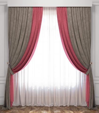 Комплект штор и тюль Ламанш розово-серый
