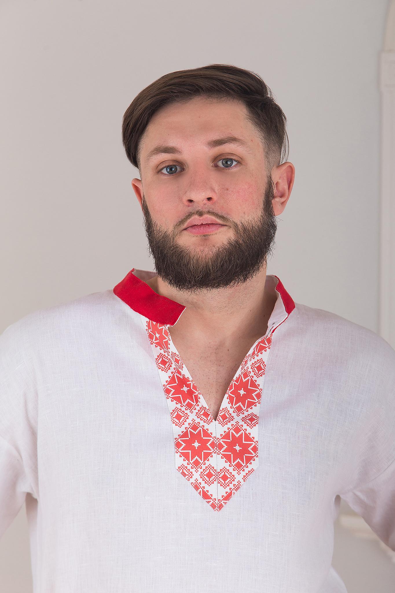 Русская рубаха мужская Воевода от Иванка кокетка на груди