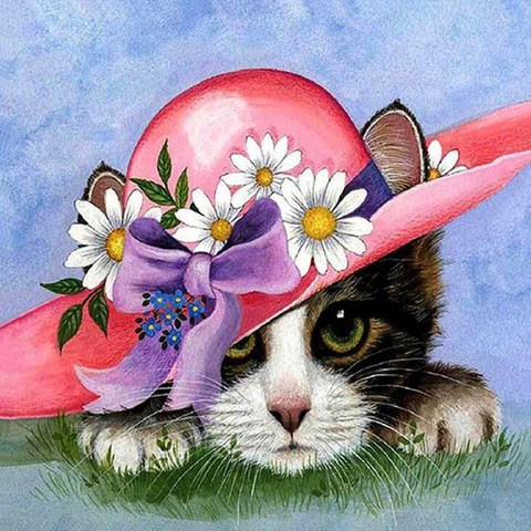 Картина раскраска по номерам 30x40 Котенок в розовой шляпе