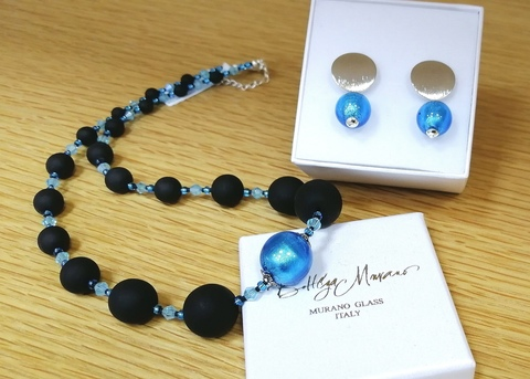 Комплект Monte Amiata Rotondo  Aqua (серьги, ожерелье)