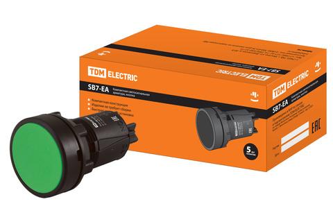 Кнопка переключатель SB7-EA35 d22мм 1з+1р зеленая TDM