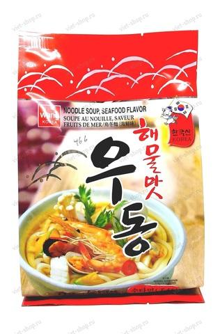 Корейская лапша быстрого приготовления удон со вкусом морепродуктов Seafood flavor udong, 424 гр.