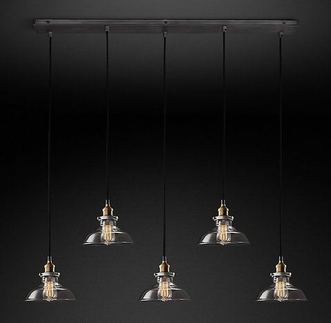 Подвесной светильник копия 20th C. Factory Filament Smoke Glass Barn Rectangular  Pendant by Restoration Hardware