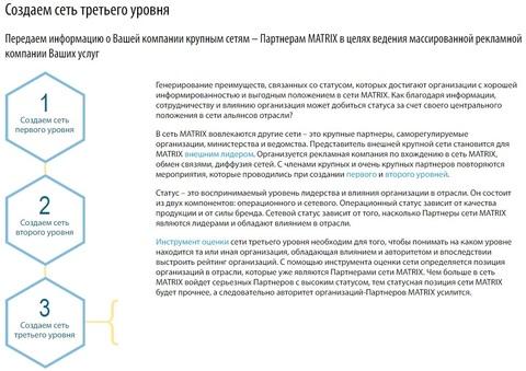 Передаем информацию о Вашей компании крупным сетям – Партнерам MATRIX в целях ведения массированной рекламной компании Ваших услуг