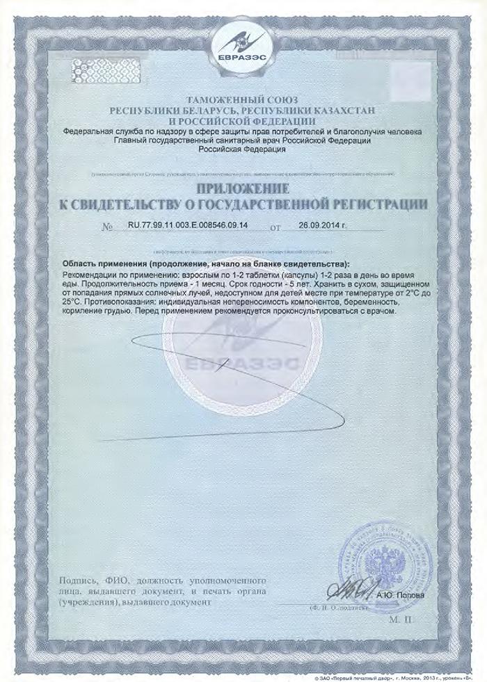 Владоникс - Свидетельство о Госрегистрации приложение