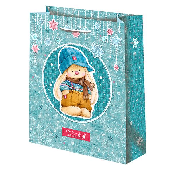 Подарочный пакет Зайка Ми Новый год бирюзовый (средний)