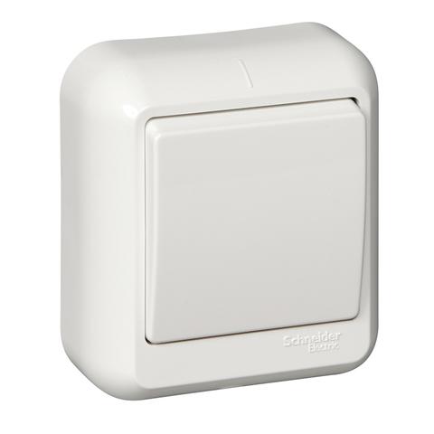 Выключатель одноклавишный с металлической пластиной 6 А 250 В в розничной упак. Цвет Белый. Schneider Electric(Шнайдер электрик). Prima(Прима). A16-051M-BI