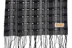 Шерстяной шарф, мужской серо-черный 30391