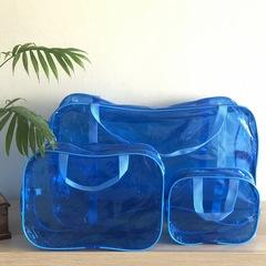 Тонированная прозрачная сумка в роддом с 2 косметичками, голубая. вид 2
