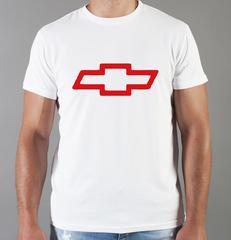Футболка с принтом Шевроле (Chevrolet) белая 0010