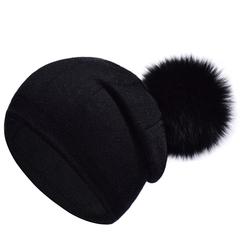 Вязаная женская шапка с натуральным помпоном, ангора (черная)