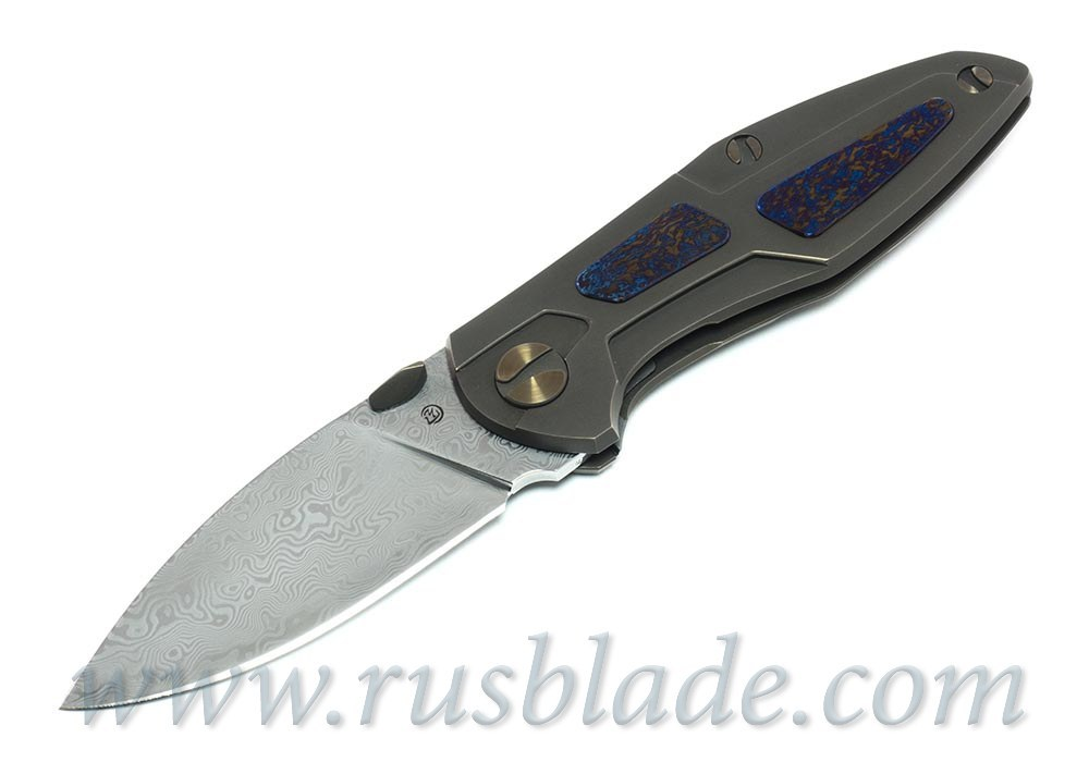 Cheburkov Toucan Custom Damascus Folding Knife