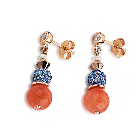 Серьги Coeur de Lion 4864/21-2002 цвет оранжевый, голубой