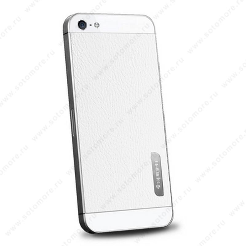 Наклейка SGP для iPhone SE/ 5s/ 5C/ 5 - SGP Skin Guard Set Leather SGP09566 белый