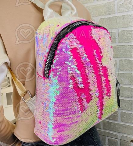 Большой рюкзак в двусторонних пайетках для девочки (цвет: Перламутровый Белый-Малиновый)