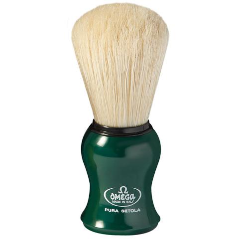 Помазок для бритья omega зеленый натуральный кабан 10065