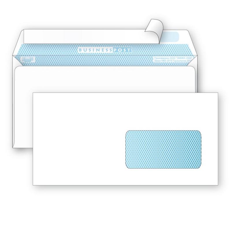Конверт BusinessPost E65 90 г/кв.м белый стрип с внутренней запечаткой с правым окном (1000 штук в упаковке)