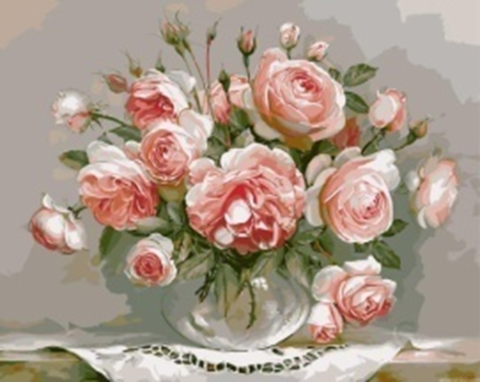 Картина раскраска по номерам 30x40 Розовые розы (арт. KTL0045)
