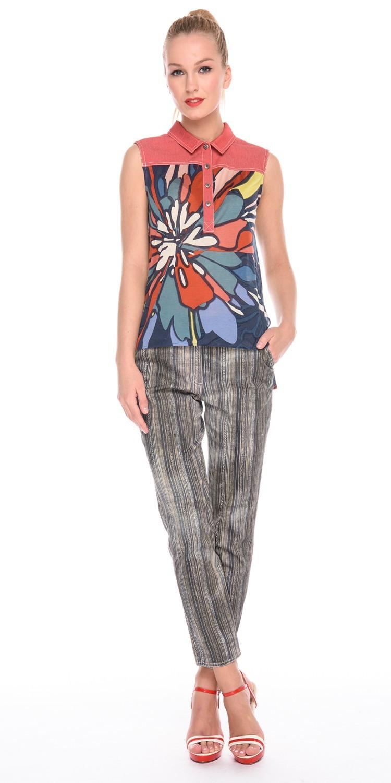 Блуза Г587-248 - Трикотажная блуза без рукавов. Отложной воротник, планка и кокетка из джинсовой ткани-компаньона. Спинка удлиненна. Комфортная и стильная модель в стиле Casual будет отлично смотреться с джинсами, шортами и юбками.