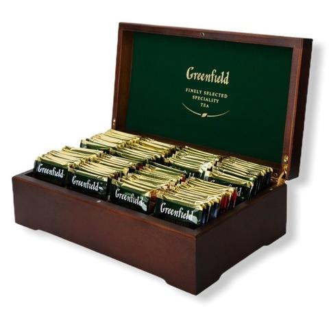 Greenfield ГРИНФИЛД Подарочный набор в деревянной шкатулке 8 видов, пакетированный, 96 пакетиков по 12 каждого вида