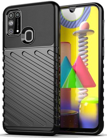 Ударопрочный чехол на телефон Samsung Galaxy M31 черного цвета, серия Onyx от Caseport