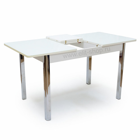 Стол НИЦЦА-1 Белый / рис. 0 / подстолье белое / опора хром / 110(142)х70см