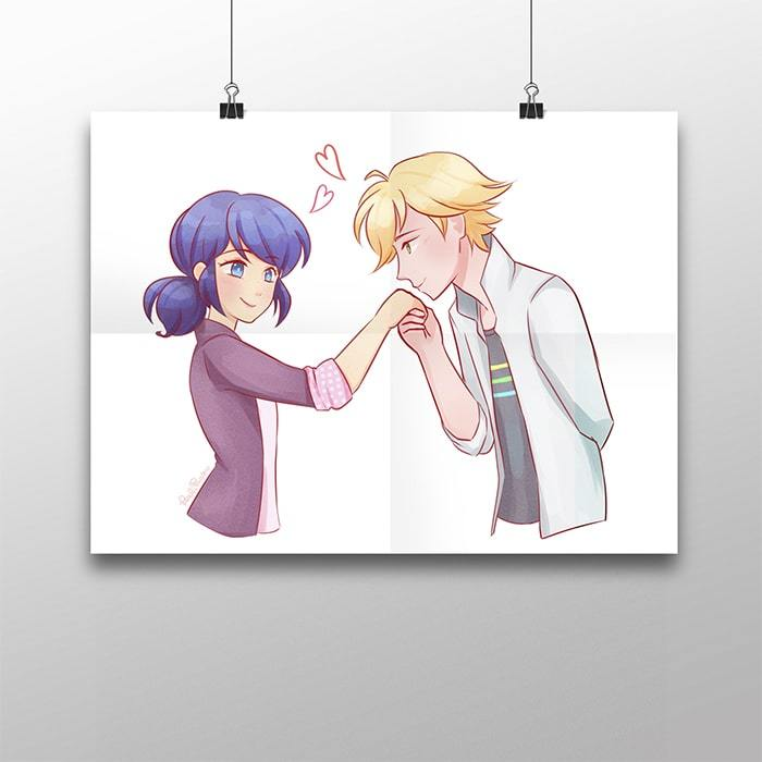 Плакат с Маринетт и Адрианом - купить в интернет-магазине kinoshop24.ru c быстрой доставкой