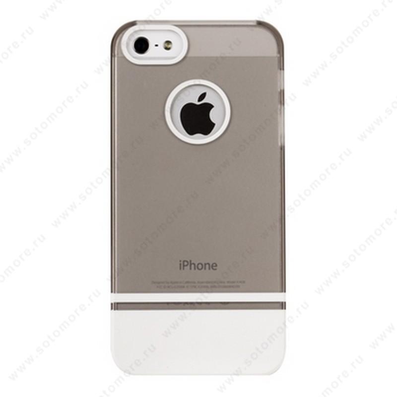 Накладка MOBILE 7 для iPhone SE/ 5s/ 5C/ 5 прозрачный верх белый низ