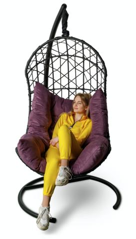 Подвесное кресло-кокон БАРСЕЛОНА + каркас + фиолетовая подушка