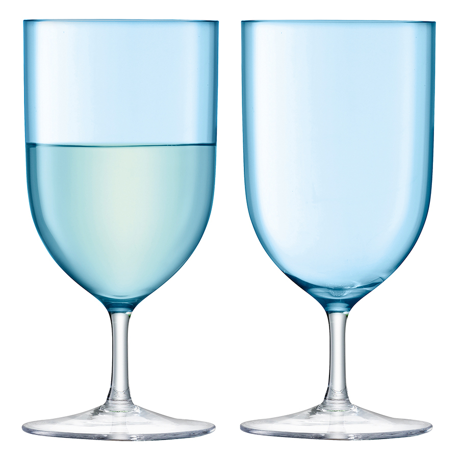 Набор из 2 бокалов для воды и вина Hint, 400 мл бирюзовый комплект из 4 бокалов для воды tawul