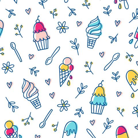 Мороженое, цветочки и сердечки