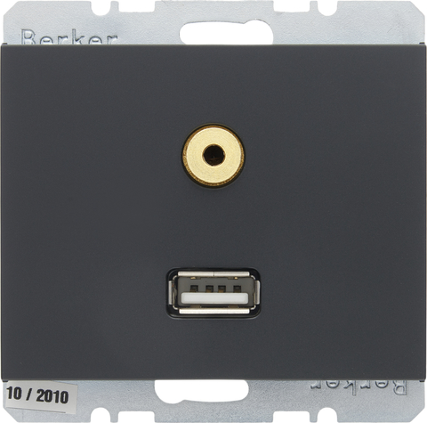 Розетка USB/3.5mm AUDIO. Цвет Антрацит. Berker (Беркер). K.1. 3315397006. Цвет Антрацит. Berker (Беркер). K.1. 3315397006