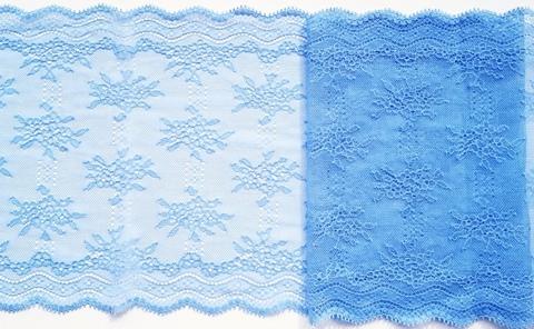 Эластичное кружево,ОПТ, 23см, голубое, (Арт: EK-036/1), м