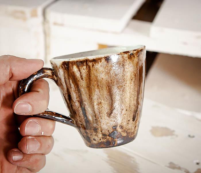 CUP106 Красивая кружка из глины для чая и кофе ручной работы (180 мл) фото 07