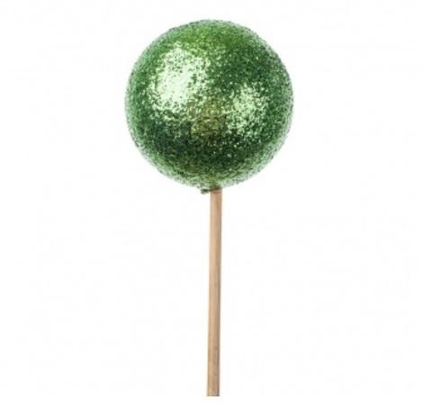 Шар с глиттером на вставке, размер: D6x50см, цвет: зеленый