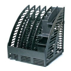 Вертикальный накопитель Attache пластиковый черный ширина 240 мм 4 отделения + органайзер