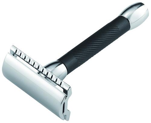 Станок Т- образный для бритья MERKUR 9030011 хромированный  черная ручка