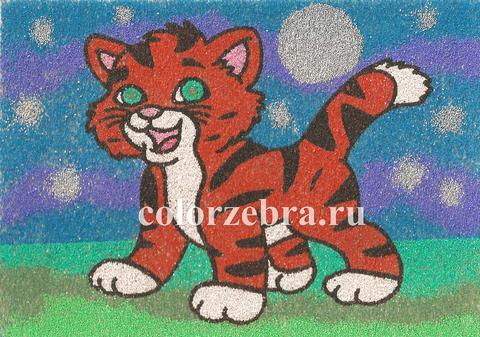 Трафарет для рисования песком Тигр А4