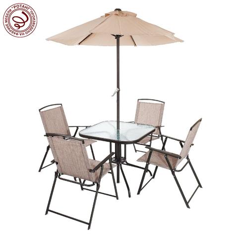 Комплект садовый VINE Marching (стол + 4 кресла + зонт)