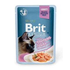 Пауч для стерилизованных кошек, Brit Premium GRAVY Salmon Fillets, кусочки филе лосося в соусе