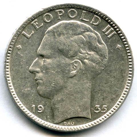 20 франков 1935. Бельгия (VF-XF)