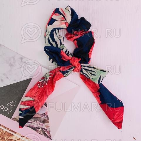 Резинка для волос с бантом рисунок Тропики (цвет: Малиновый-Синий)