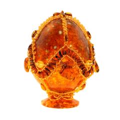 Сувенирное Пасхальное яйцо (натуральный янтарь, бисер), АВ-0760