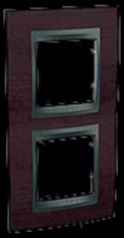 Рамка на 2 поста, вертикальная. Цвет Венге-графит. Schneider electric Unica Top. MGU66.004V.2M3