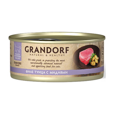 Grandorf Tuna with Mussel in Broth Консервы для кошек Филе тунца с мидиями