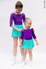 Kids set: 2 Sleeves leotard violet + skirt