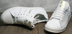 Модные женские кеды Adidas Stan Smith White-R A14w15wg