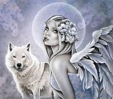 Алмазная Мозаика 40x50 Девушка с крыльями и волк