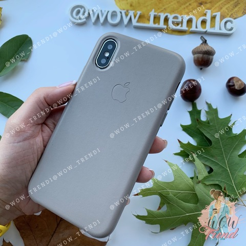 Чехол iPhone X/XS Leather Case /taupe/